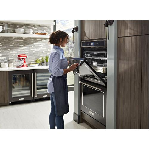 """Gallery - Smart Oven+ 30"""" Double Oven with Powered Attachments and PrintShield™ Finish - Black Stainless Steel with PrintShield™ Finish"""
