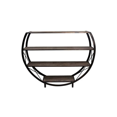 Style Craft - Santa Monica Circle Bookcase made of reclaim wood and metal