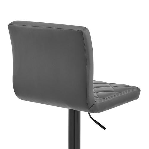 Duval Adjustable Gray Faux Leather Swivel Bar Stool