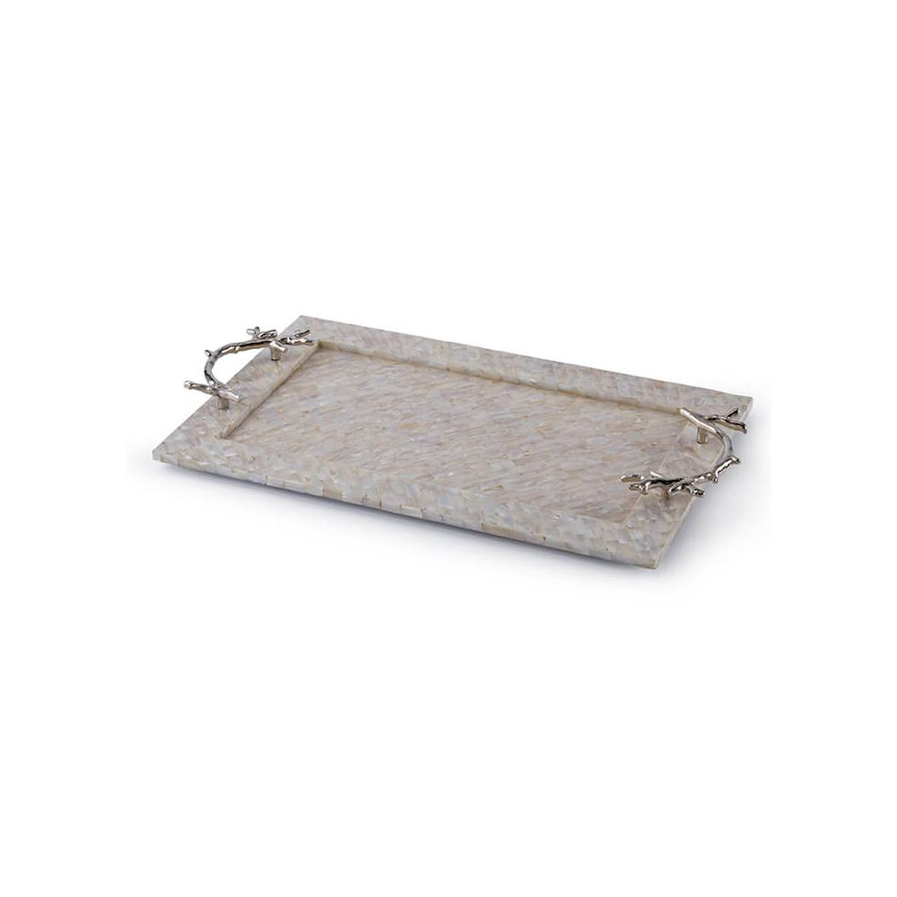See Details - Mother of Pearl Tray With Coral Handles