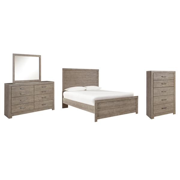 See Details - Full Panel Bed With Mirrored Dresser and Chest