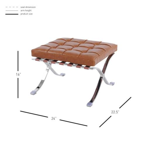 Barca PU Ottoman Stainless Steel Frame, Distressed Caramel