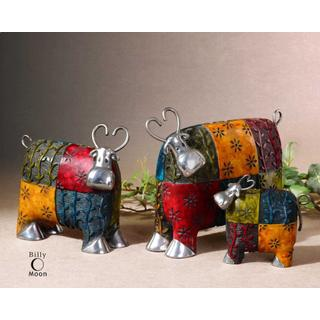 Colorful Cows Figurines, S/3