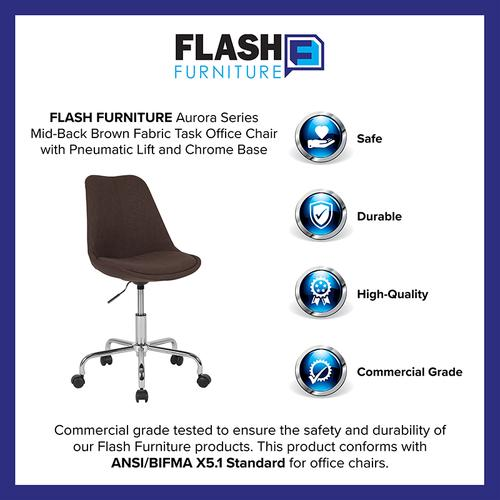 Gallery - Aurora Series Mid-Back Brown Fabric Task Office Chair with Pneumatic Lift and Chrome Base