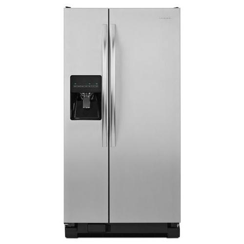 Gallery - Amana® 32-inch Wide Amana® Side-by-Side Refrigerator with Adjustable Door Bins -- 21 cu. ft. Capacity - Black-on-Stainless