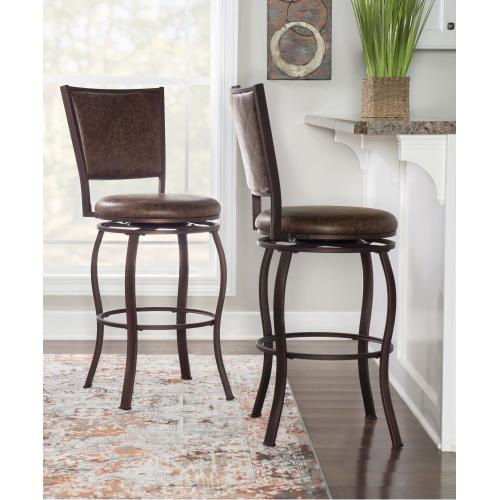 Upholstered Faux Leather Seat and Back Barstool, Brown