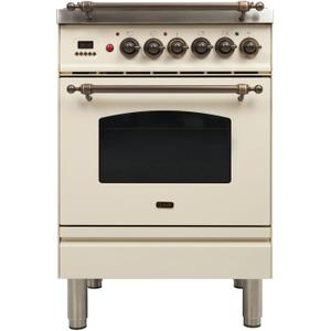 24 Inch Antique White Dual Fuel Liquid Propane Freestanding Range