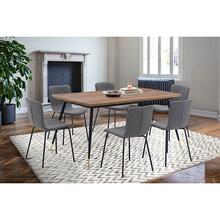 Messina and Gillian Grey Faux Leather and Walnut 7 Piece Dining Set