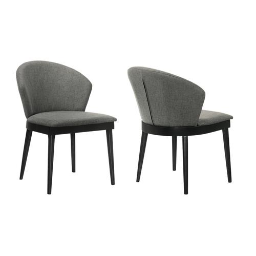 Armen Living - Juno Charcoal Fabric and Black Wood Dining Side Chairs - Set of 2