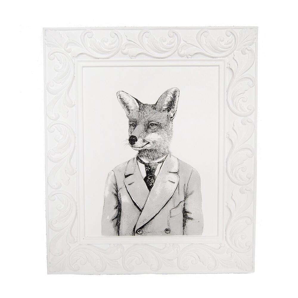 Gentleman Fox Framed Art, Black/white