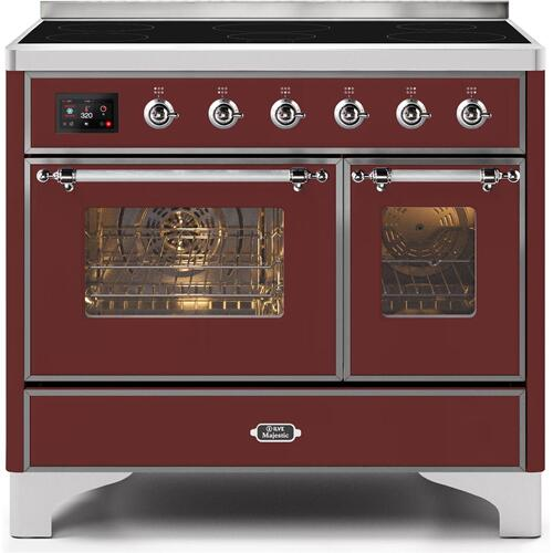 Ilve - Majestic II 40 Inch Electric Freestanding Range in Burgundy with Chrome Trim