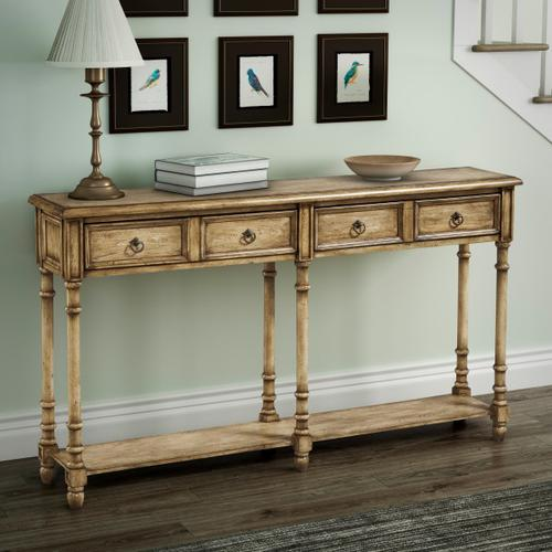 Two Drawer Tall Hall Console Table in Weathered Brown
