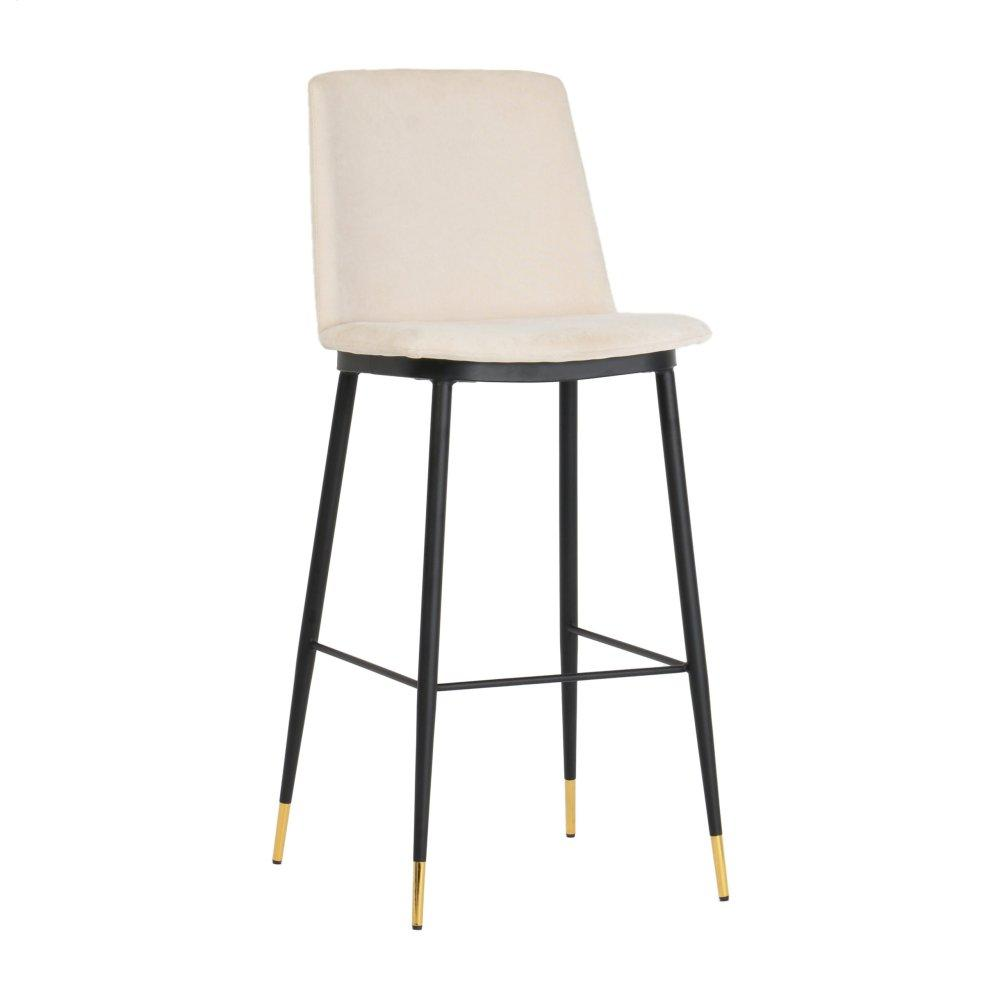 Evora Cream Velvet Counter Stool (Set of 2)