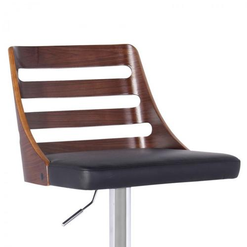 Armen Living Storm Barstool in Chrome finish with Walnut wood and Black Faux Leather