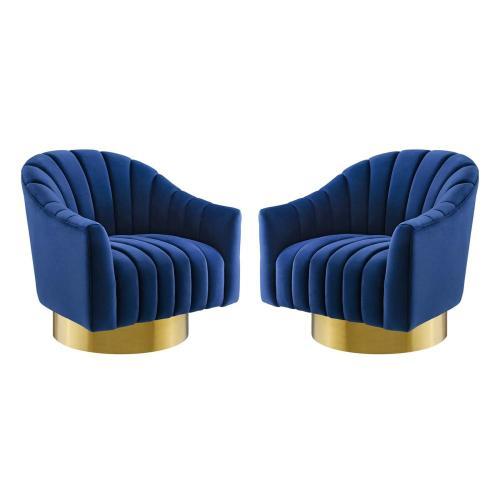 Buoyant Swivel Chair Performance Velvet Set of 2 in Navy