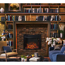 See Details - Cambridge 25-In. Freestanding 5116 BTU Electric Curved Fireplace Heater Insert with Remote Control, CAM25CINS-1BLK