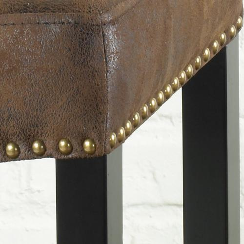 """Armen Living - Tudor Backless 30"""" Stationary Barstool Covered In A Wrangler Brown Fabric with Nailhead Accents. Mbs-013"""