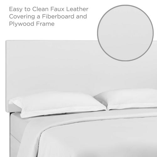 Taylor Full / Queen Upholstered Faux Leather Headboard in White