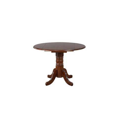 Round Drop Leaf Dining Set w/Napoleon Chairs Chestnut (3 Piece)