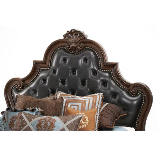 Queen Tufted Leather Mansion Bed