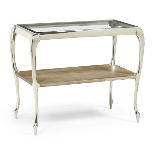 Short Rivoli Walnut & White Stainless Steel Console Table with Clear Glass Top