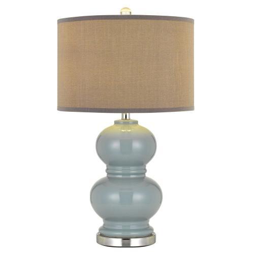 Bergamo Ceramic Table Lamp With Hardback Plantium Grey Fabric Shade (Sold And Priced As Pairs)