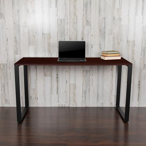 """Gallery - Modern Commercial Grade Desk Industrial Style Computer Desk Sturdy Home Office Desk - 55"""" Length-Mahogany"""