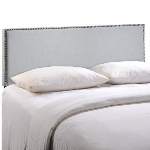 Region Nailhead King Upholstered Headboard in Sky Gray