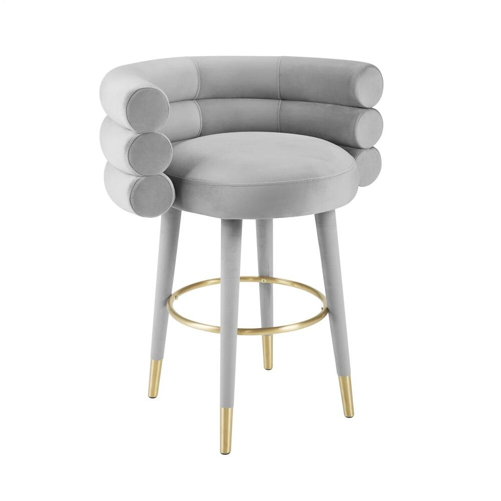 Betty Grey Velvet Counter Stool