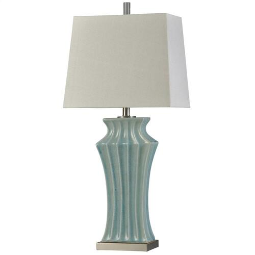 L315903  Kipling Blue  Traditional  Ceramic and Acrylic Table Lamp  100W  3-Way  Hardback Shade
