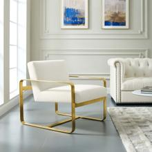 Astute Performance Velvet Armchair in Ivory