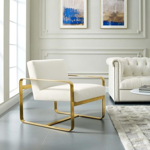 Modway - Astute Performance Velvet Armchair in Ivory