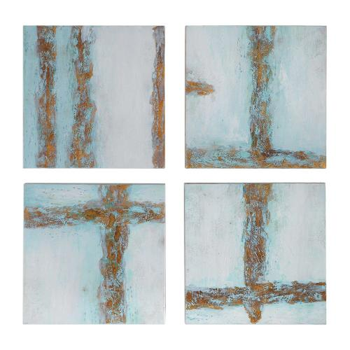 Cross Roads Hand Painted Canvases, S/4
