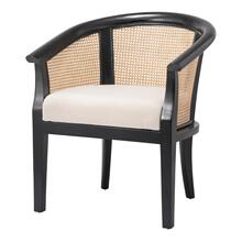 Sabine Rattan Arm Chair, Black/ Natural