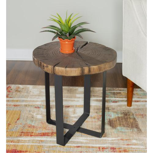 Metal Legs Side Table, Black and Ash