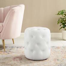 Amour Tufted Button Round Faux Leather Ottoman in White