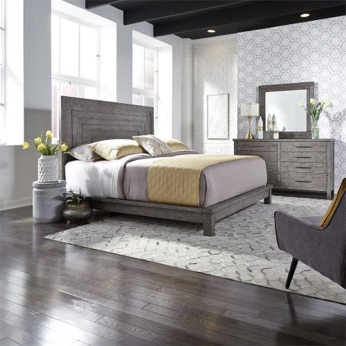 King California Platform Bed, Dresser & Mirror