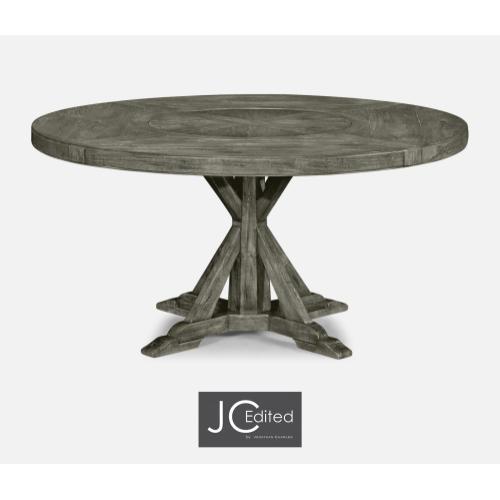 "60"" Circular Dining Table in Antique Dark Grey"