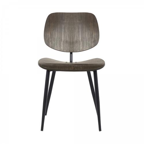 Miki Mid-Century Walnut Wood Dining Accent Chairs (Set of 2)