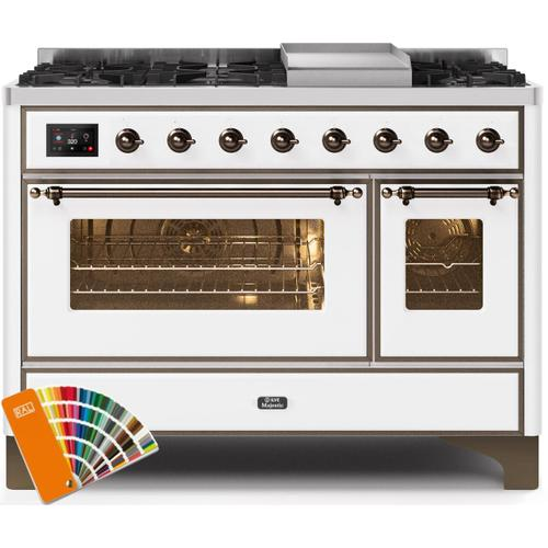 Majestic II 48 Inch Dual Fuel Natural Gas Freestanding Range in Custom RAL Color with Bronze Trim