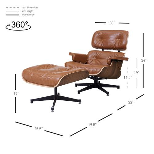 Product Image - Grayson PU Lounge Accent Arm Chair and Ottoman Walnut Veneer Frame, Distressed Caramel