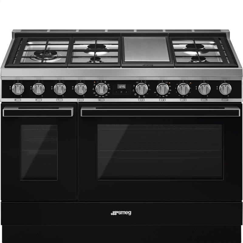"Portofino Pro-Style Dual Fuel Range, Black, 48"" x 25"""