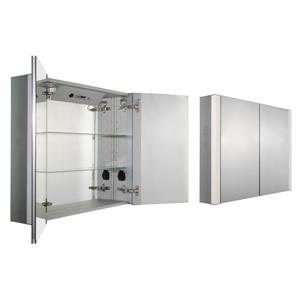 Musichaus double door anodized aluminum cabinet with USB, SD card, and Bluetooth compatibility, FM radio, four built-in speakers, electric outlet, defogger, and blue-lit LED power button and dimmer for lights on both sides. Product Image