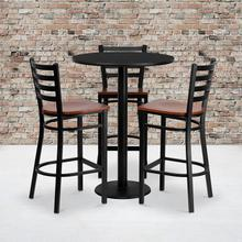 Product Image - 30'' Round Black Laminate Table Set with 3 Ladder Back Metal Barstools - Cherry Wood Seat