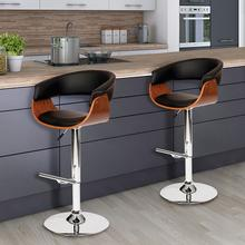 Armen Living Paris Swivel Barstool In Black PU/ Walnut Veneer and Chrome Base