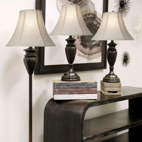 QB-Dunbrook steel multi pack set includes 2 table lamps floor lamp Natural linen shades