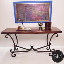 """See Details - Westwern Chic Large Console  Mesquite Wood, Wrought Iron Base - 1215C - 72"""" x 24"""" Round Corners / Dark Rust Brown / Turquoise"""