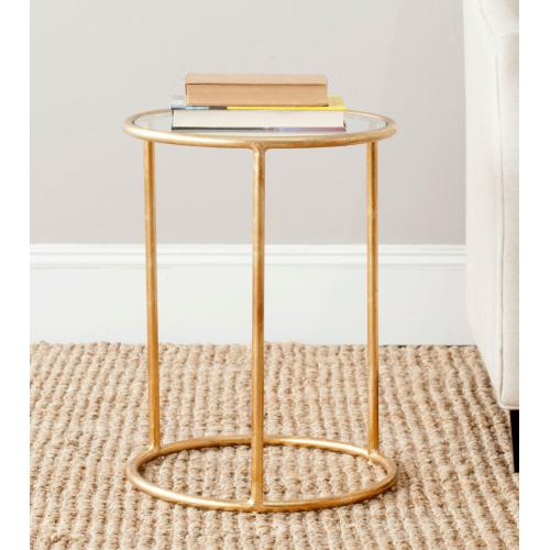 Shay Glass Top Gold Leaf Accent Table - Gold / Clear