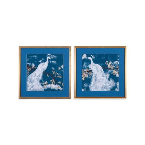 White Peacock on Indigo 2 pc