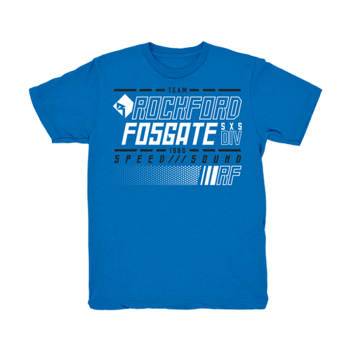 Blue Team Rockford Fosgate Side-X-Side T-shirt with White and Black Colored Lettering (M)